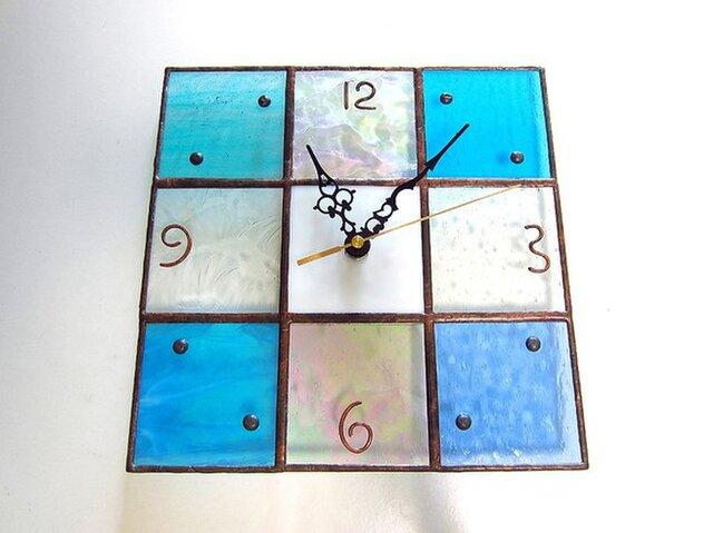 【24㎝×24㎝】ステンドグラス*掛時計・モザイクB(夏色)Lの画像1枚目