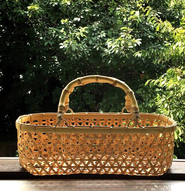 竹  麻の葉編み  カゴバッグ  竹かご  竹籠バスケットの画像1枚目