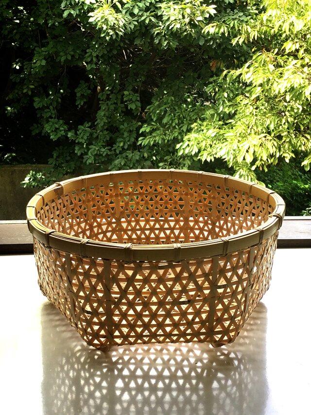竹  麻の葉編み  バスケット  整理カゴ  竹かご  竹籠の画像1枚目