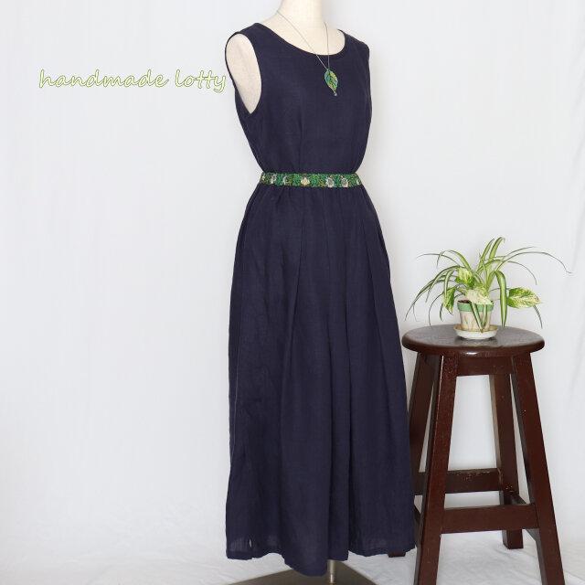 moda+リネン タックギャザーロングスカート(ネイビー)の画像1枚目