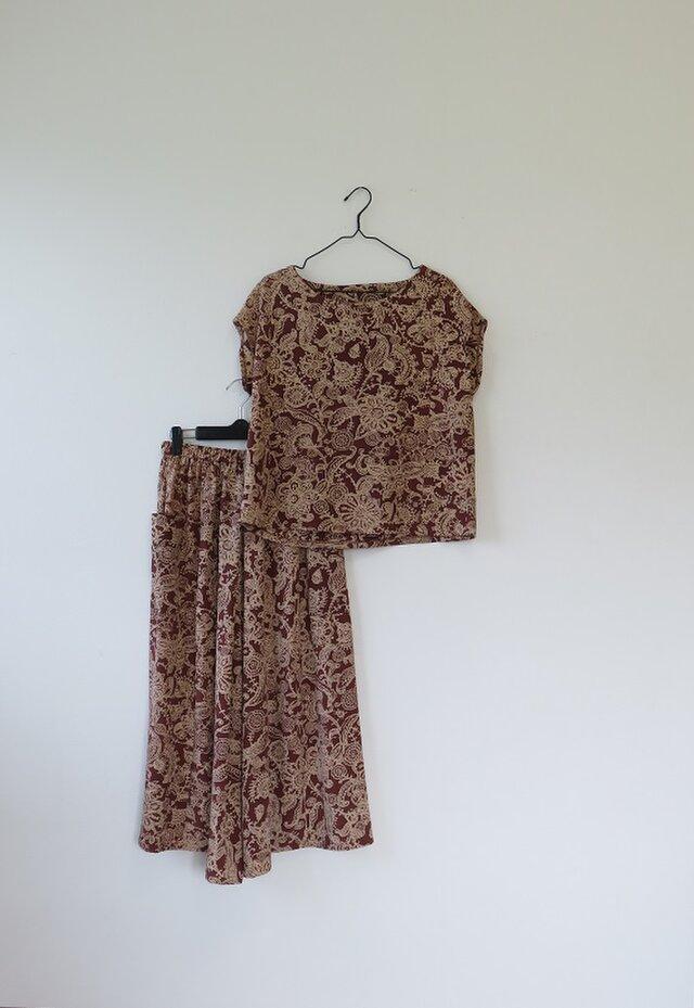Y様ご予約品*アンティーク着物*抽象花柄模様のワイドパンツセットアップ(Lサイズ)の画像1枚目