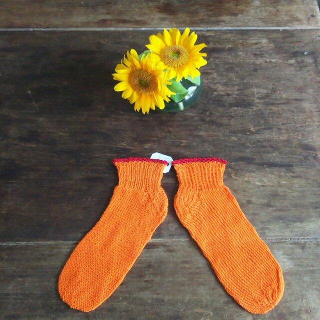 オレンジ&レッド★コットン100%★手編み靴下★ソックス★冷え対策★夏糸の画像1枚目