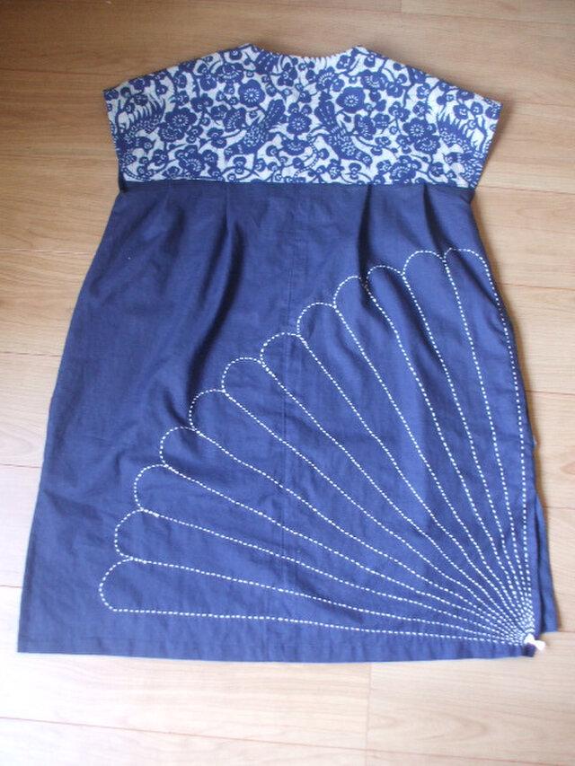 藍染刺し子のチュニック 木綿の画像1枚目