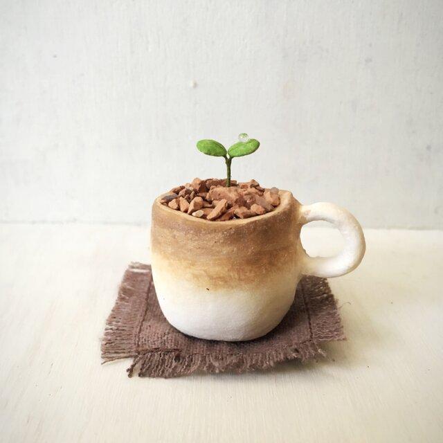 3116.bud 粘土の鉢植え マグカップの画像1枚目