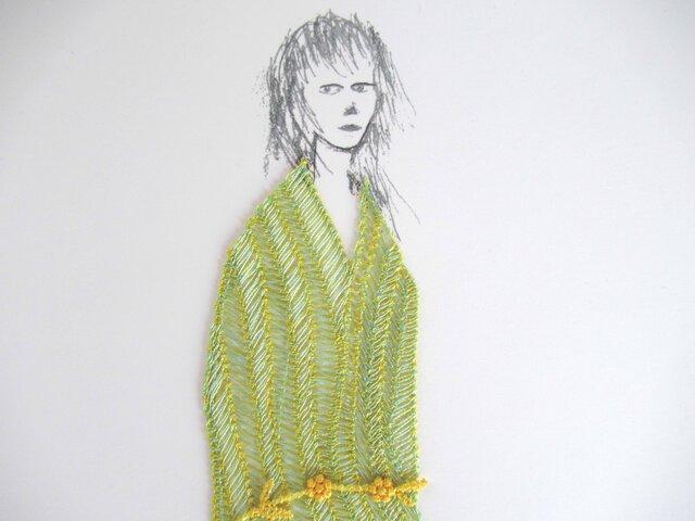 刺繍アート Miss.ALICE  (green)の画像1枚目