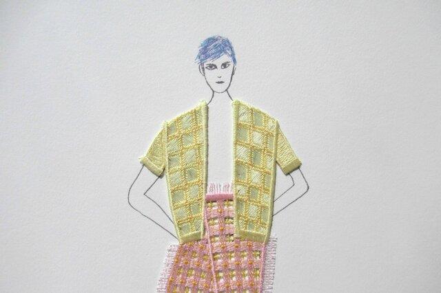 刺繍アート Lucy  (jaune)の画像1枚目