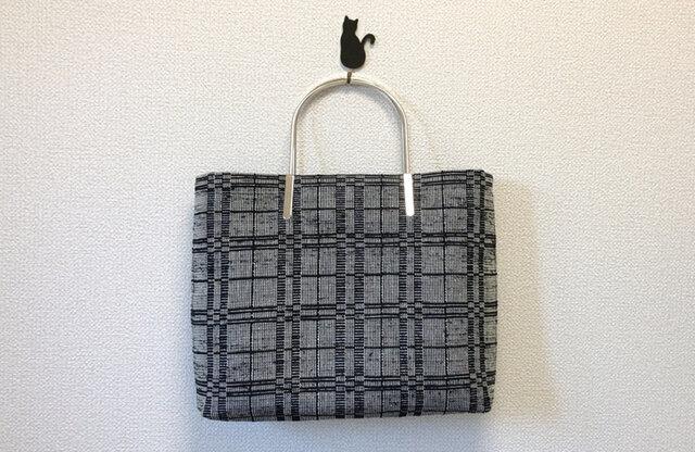 【訳ありセール】裂き織り キラキラなハンドバッグ シルバー持ち手☆ラメ☆の画像1枚目