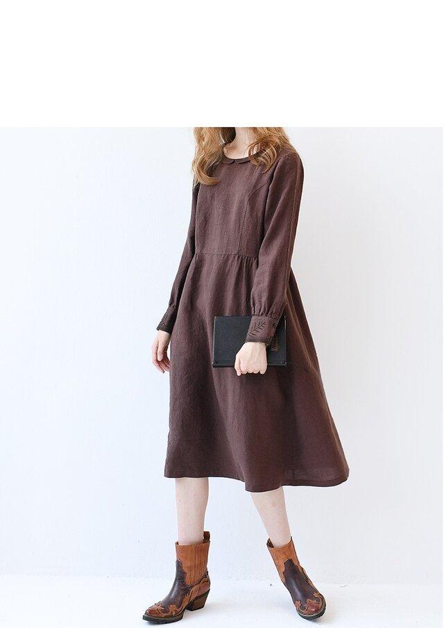 【M】カフス刺繍入り丸小衿シンプルな長袖ワンピース♪の画像1枚目