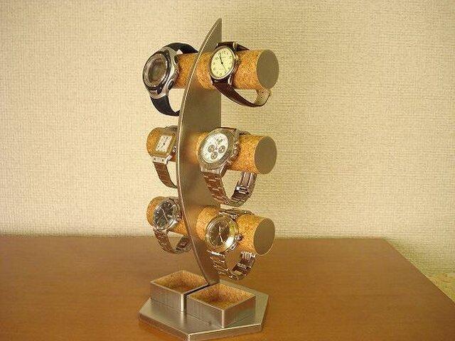腕時計 飾る 三日月3段腕時計スタンド ダブルトレイ付き  AKデザインの画像1枚目