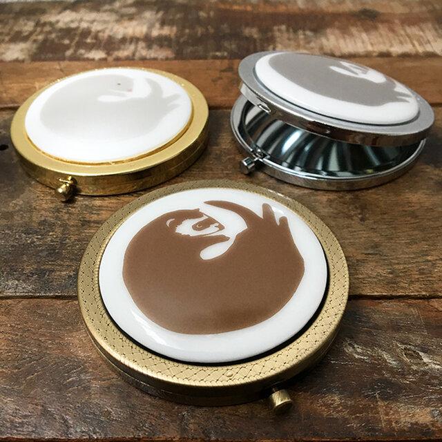 フェレット コンパクトミラー 3色 ★ セーブル ホワイトファー シルバー 手鏡 7cmの画像1枚目