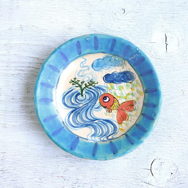 楽し気な金魚絵の丸い深皿(ターコイズ)の画像1枚目