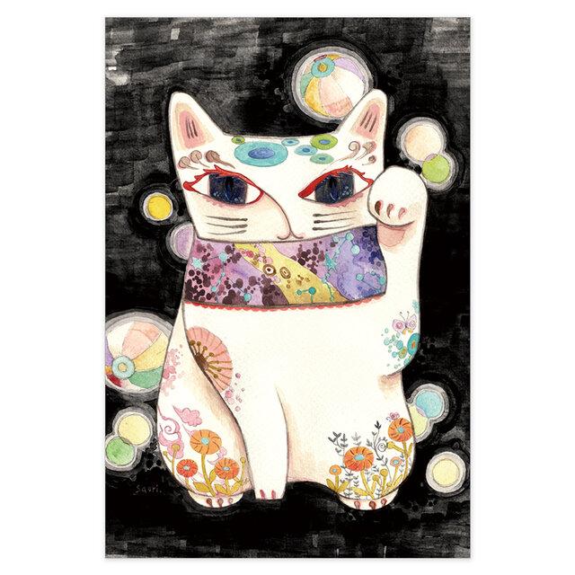 選べるポストカード/2枚セット『No.201 招き猫-紙風船-』の画像1枚目