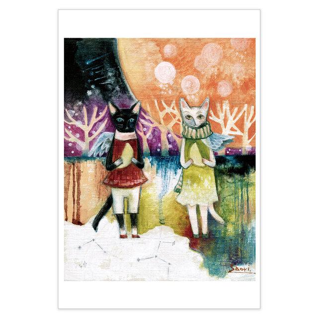 選べるポストカード/2枚セット『No.177 双子猫のカフェⅠ』の画像1枚目