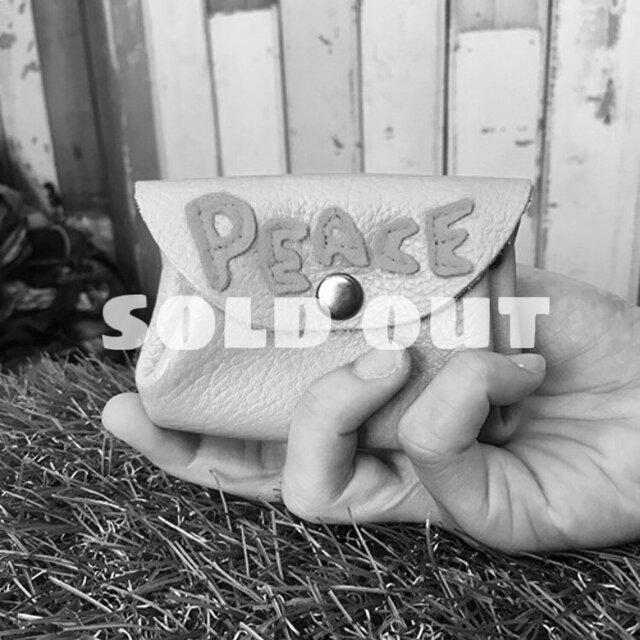 【セレクト加工】PEACEワッペンレザーミニウォレット(グリーン)の画像1枚目