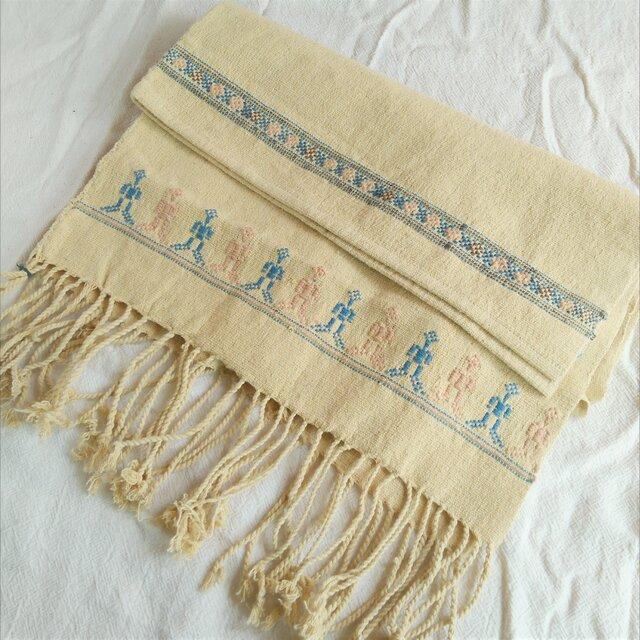 タイの草木染め&手織りブランケット イエロー(ベビーから大人まで、織り刺繍、送料無料)の画像1枚目