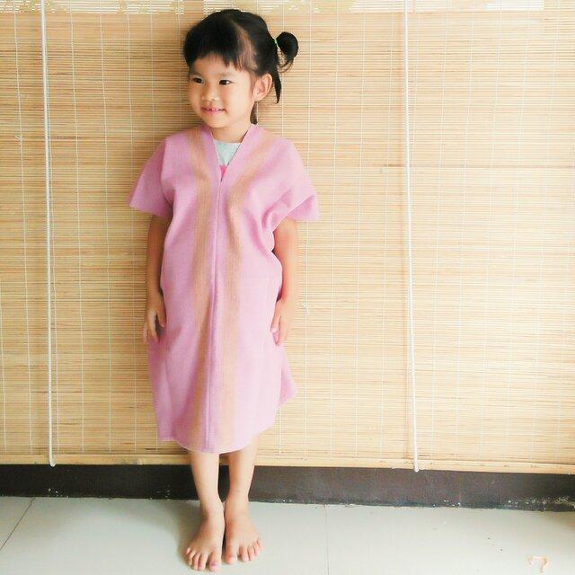 タイの草木染め&手織りワンピース ピンク ライン(キッズ、コットン、送料無料)の画像1枚目