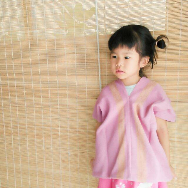 タイの草木染め&手織りトップス ピンク ライン(キッズ、コットン、送料無料)の画像1枚目