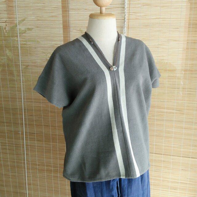 タイの草木染め&手織りトップス グレー ライン(送料無料、ユニセックス・メンズ、コットン)の画像1枚目