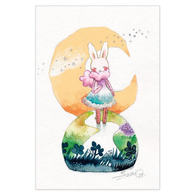 選べるポストカード/2枚セット『No.265 三日月うさぎⅡ』の画像1枚目