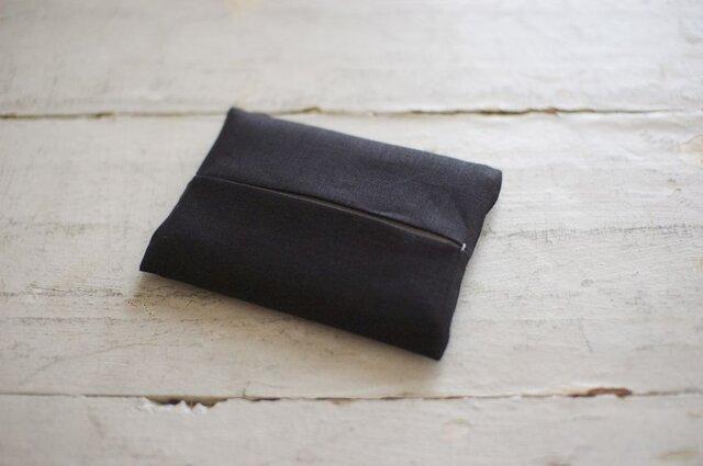 大人のリネンのポケットティッシュカバー《ブラック》の画像1枚目