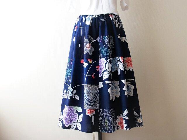 浴衣リメイクパッチスカート 藍に花十色 2の画像1枚目