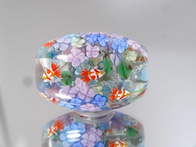 紫陽花と金魚のとんぼ玉(ガラス玉)の画像1枚目