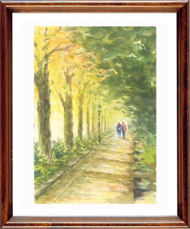 水彩画原画 いちょうの並木道の画像1枚目