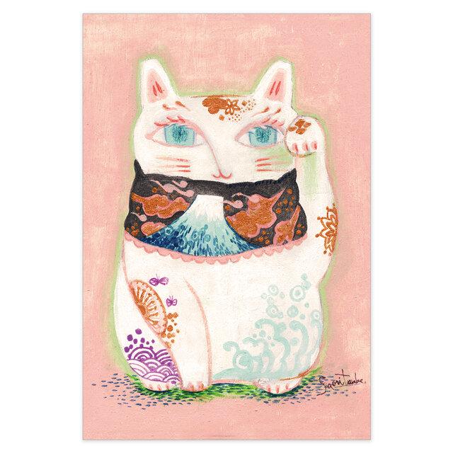 選べるポストカード/2枚セット『No.247招き猫_富士山』の画像1枚目