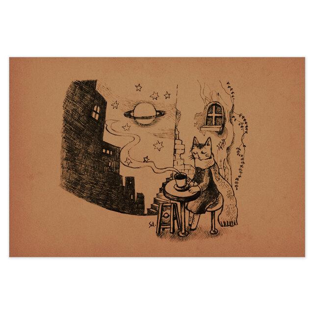 選べるポストカード/2枚セット『No.246 旅猫と星と珈琲-6番街土星通り』の画像1枚目