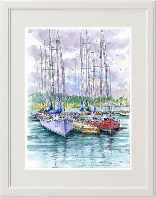 水彩画原画 ヨットハーバー 11の画像1枚目