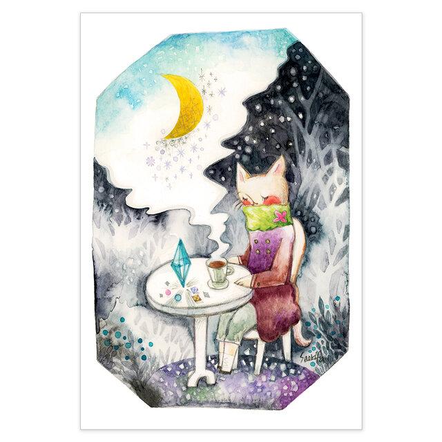 選べるポストカード/2枚セット『No.271 夜を聴く-三日月森で-』の画像1枚目