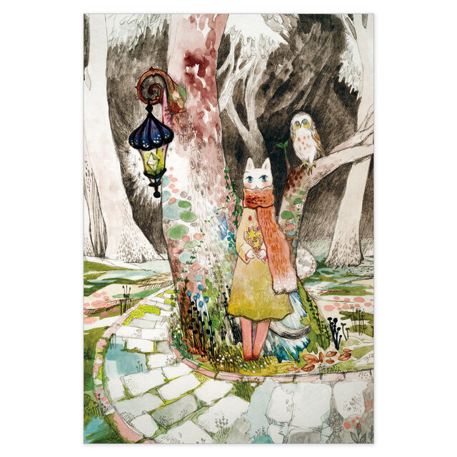 選べるポストカード/2枚セット『No.269 旅猫と星とふくろう森』の画像1枚目