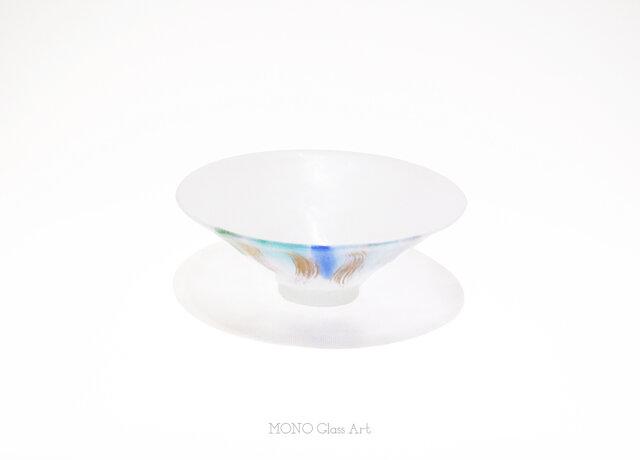 日雷   桐箱入【オリジナル・一点もの   パートドヴェールガラスの抹茶平茶碗】の画像1枚目