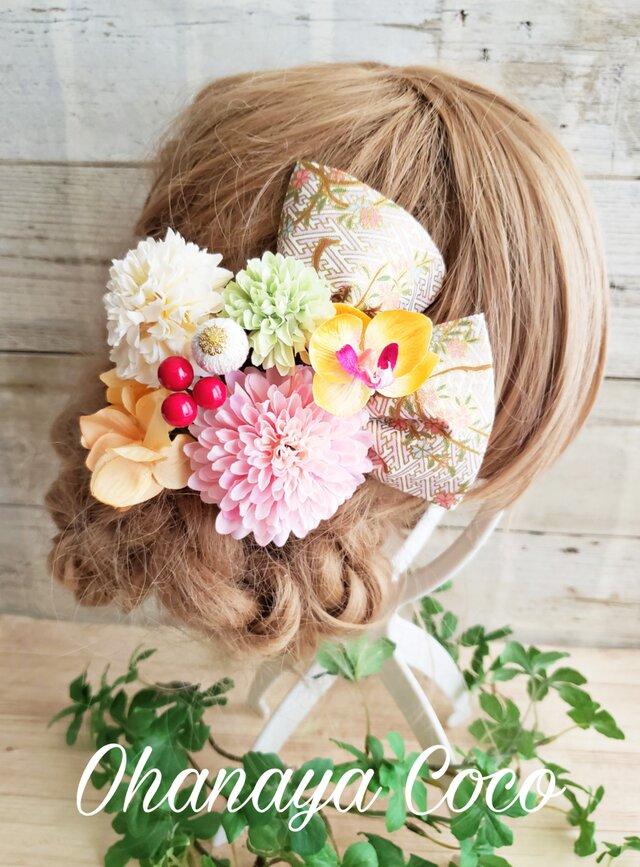 艶姫 銀杏形リボンとマムの髪飾り9点Set No582 浴衣 お祭りの画像1枚目