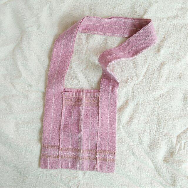 カレン族のショルダーバッグS ピンク(大人・キッズ兼用、送料無料、草木染め、手織り)の画像1枚目