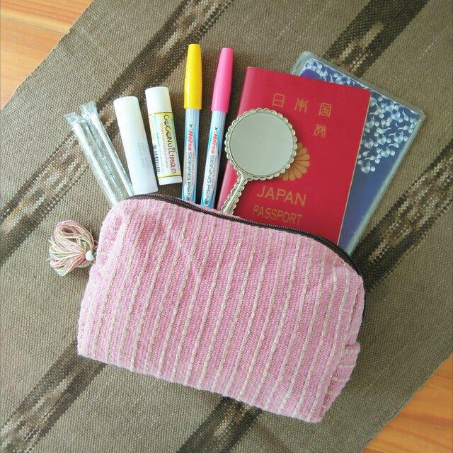 タイの草木染め&手織りポーチ ピンク ストライプ(送料無料、ペンケース)の画像1枚目