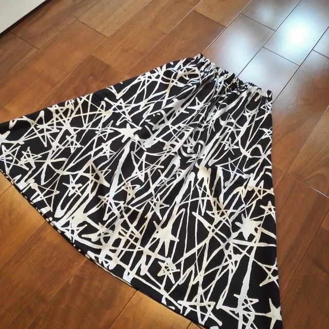 濃紺リネン&シルバーの星柄スカートの画像1枚目