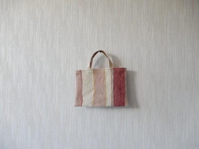 裂き織りのちょっとそこまでバッグ  生成り+ピンクの画像1枚目