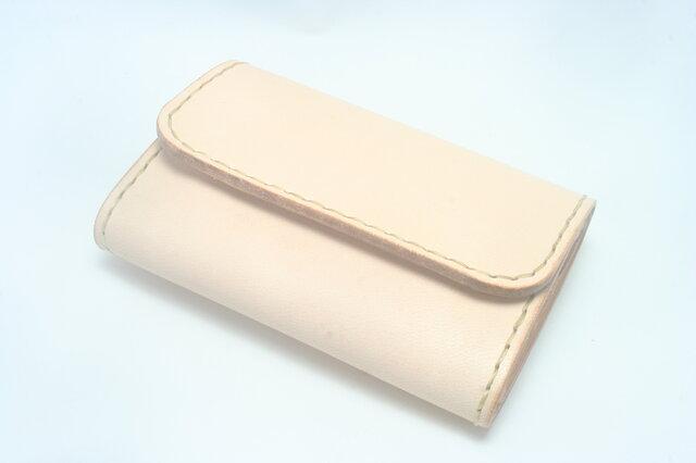 ♪前ポケットにもスッと♪ レザーミニマルウォレット 小さい財布 ナチュラル♪の画像1枚目