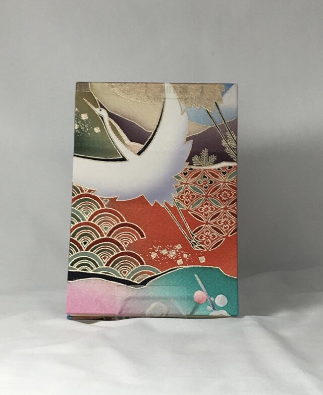 友禅 御朱印帳(特大)白鶴の画像1枚目