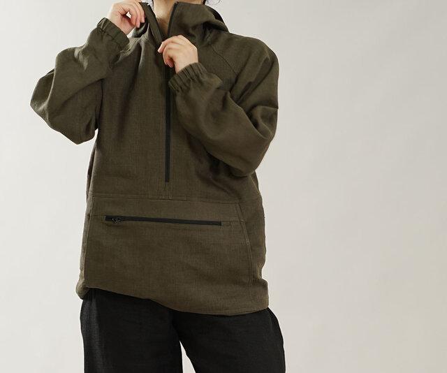 【wafu】中厚 リネン100% マウンテンパーカー 男女兼用 アノラック フード パーカー / カーキ h053b-khk2の画像1枚目