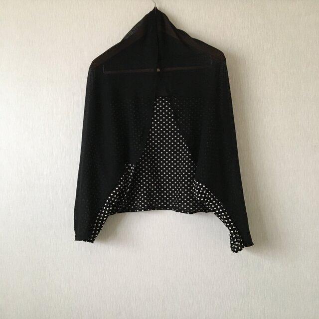 パッチワーク 2WAYカットソー水玉ボレロ黒×黒白Fの画像1枚目