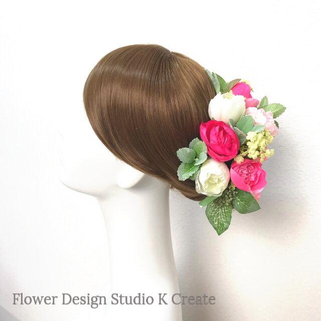 ミントリーフとローズピンクのラナンキュラスのヘッドドレス(Uピン 15本セット) 結婚式 ウェディングの画像1枚目