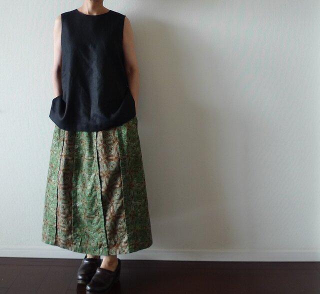 大人の切り替えスカート 綾織り綿麻(スカート丈オーダー可)の画像1枚目