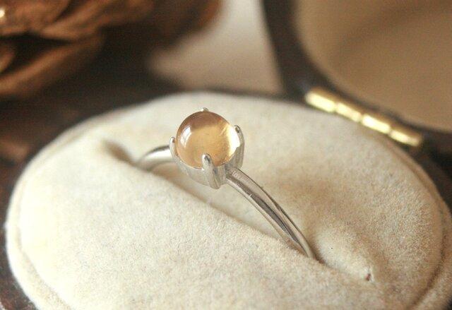 大粒*宝石質天然石シトリン シルバーリング の画像1枚目