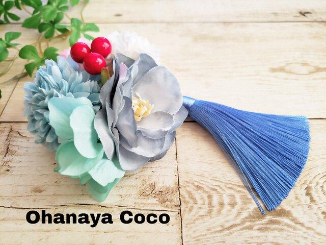 花yurari キュートな薔薇の髪飾り クリップピンタイプ No586の画像1枚目