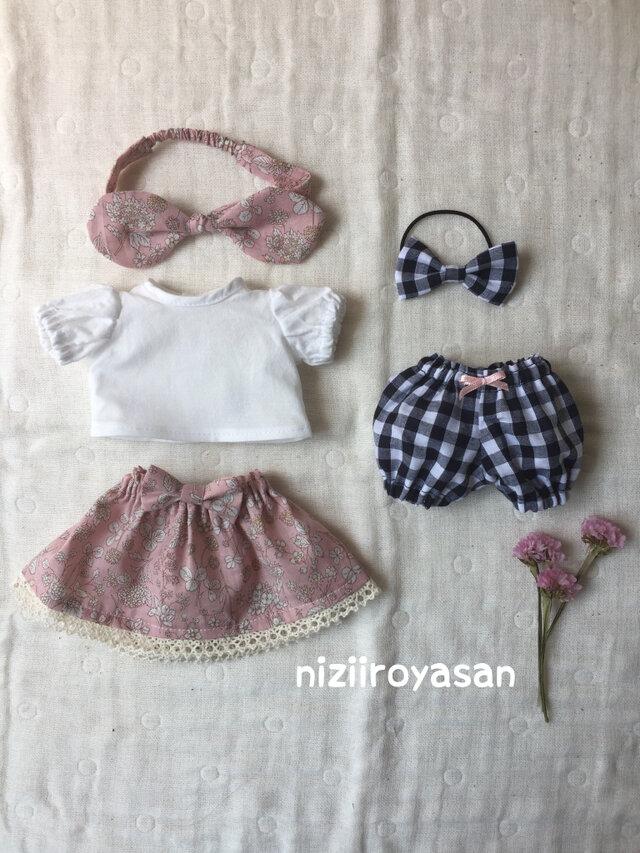 5点セット☆ブラウス、スカート、かぼちゃパンツ、リボン2つの画像1枚目
