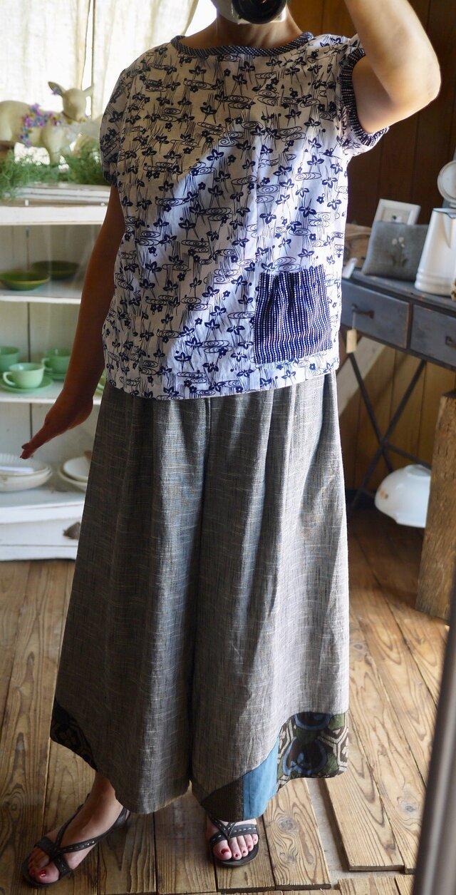 久留米絣と紬からパンツスカートの画像1枚目