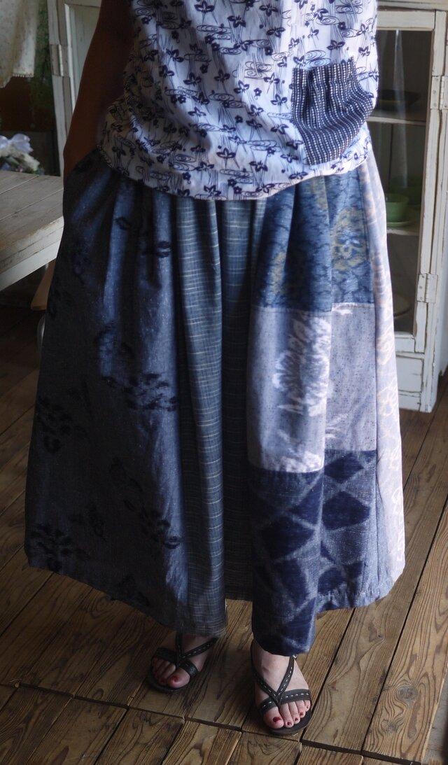 久留米絣反物からパッチスカートの画像1枚目