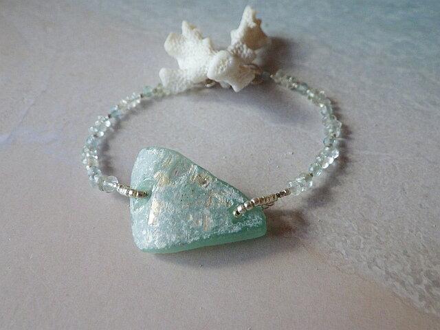 *sv925*ローマングラス Ancient Roman Glass  Blacelet アンティーク/アクアマリンの画像1枚目